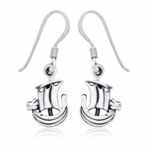 925 Sterling Silver Viking Norse Boat Dangle Earrings