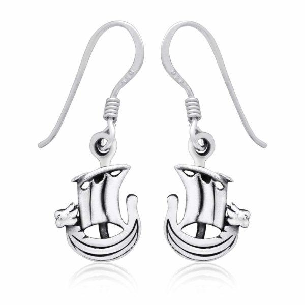 925 Sterling Silver Viking Norse Boat Dangle Earrings