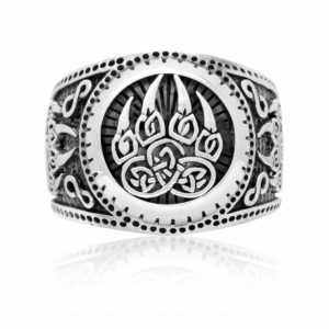 925 Sterling Silver Viking Print Bear Paw Claw Slavic Warding Veles Signet Ring
