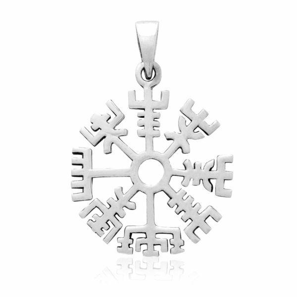 925 Sterling Silver Vegvisir Viking Compass Norse Amulet Pendant