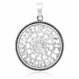 925 Sterling Silver Sonnenrad Black Sun Wheel Viking Runes Futhark Pagan Pendant