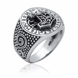 925 Sterling Silver Viking Thor Hammer Mjolnir Runes Ring