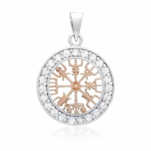 925 Sterling Silver with Rose Gold Viking Vegvisir and Cubic Zirconia Charm
