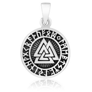 925 Sterling Silver Valknut Runes Futhark Viking Charm Pendant