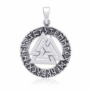 925 Sterling Silver Viking Valknut Runes Futhark Legendary Pendant