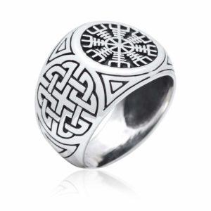 925 Sterling Silver Viking Helm Of Awe Aegishjalmur Knotwork Protection Ring