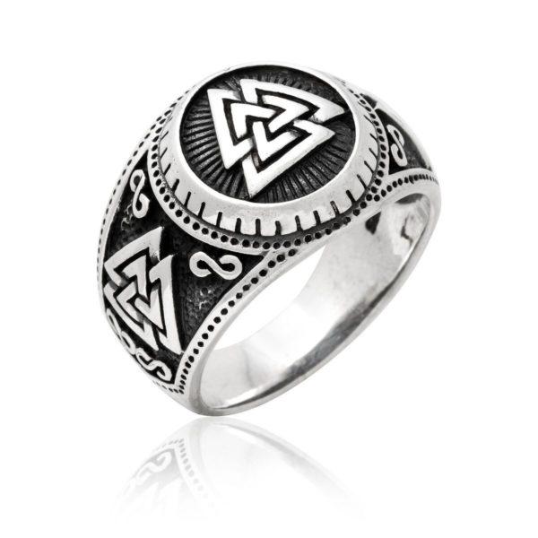 925 Sterling Silver Valknut Signet Icelandic Scandinavian Odin Viking Wikinger Norse Ring