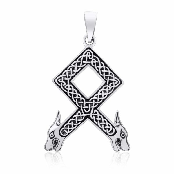 925 Sterling Silver Viking Othala Rune Wolf Heads with Knotwork Pendant