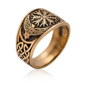 Helm of Awe Viking Raven Bronze Ring