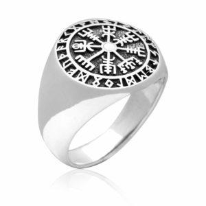 925 Sterling Silver Vegvisir Viking Compass Runes Ring