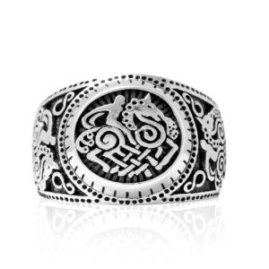 925 Sterling Silver Sleipnir Viking Horse Odin's Steed Signet Norse Ring