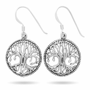 925 Sterling Silver Yggdrasil Norse Tree of Life Viking Jewelry Earrings Set