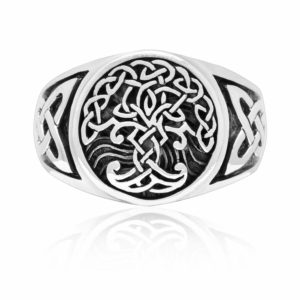 925 Sterling Silver Viking Yggdrasil Celtic Knotwork Ring