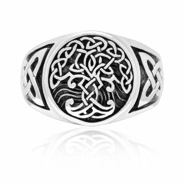925 Sterling Silver Viking Yggdrasil Celtic Knotwork Ring