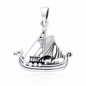 925 Sterling Silver Viking Norse Boat Ship Solid Pendant