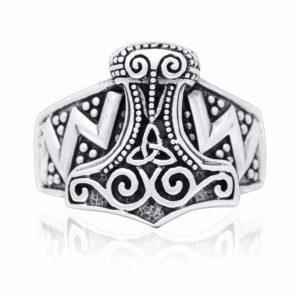 925 Sterling Silver Viking Thor Hammer Mjolnir Celtic Knot Biker Ring