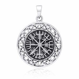 925 Sterling Silver Vegvisir Compass Celtic Infinity Knots Pendant