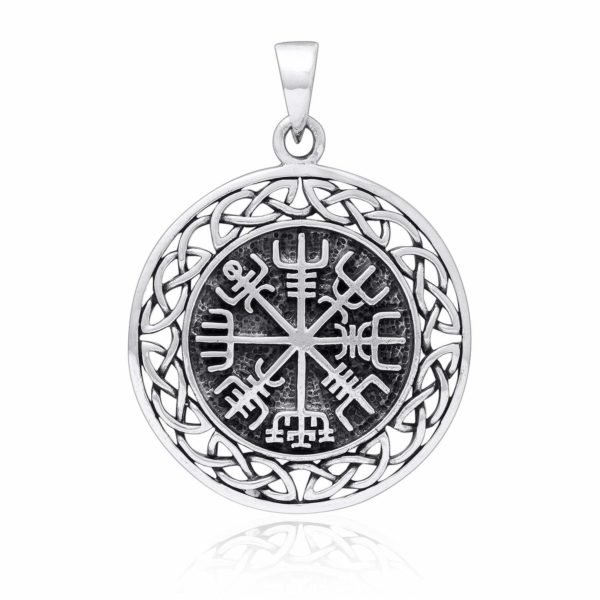 925 Sterling Silver Vegvisir Compass Celtic Infinity Knots Pendant