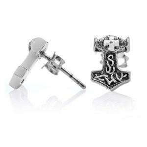 925 Sterling Silver Viking Thor Hammer Mjolnir Stud Earrings Set
