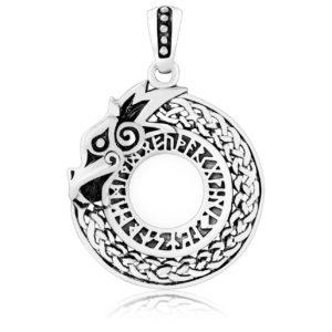 925 Sterling Silver Viking Dragon Jormungand Runes Futhark Pendant