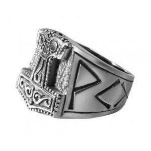 925 Sterling Silver Viking Mjolnir Runes Biker Ring