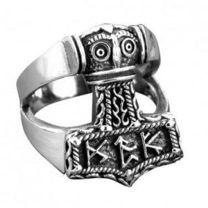 925 Sterling Silver Viking Thunder God Thor Hammer Mjölnir Mjolnir Futhark Norse Runes Biker Ring