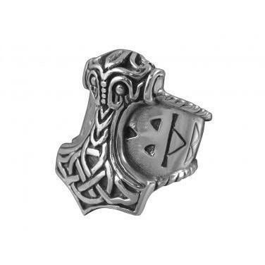 925 Sterling Silver Viking Thunder God Thor Hammer Mjölnir Mjolnir Odin Runes Norse Biker Ring
