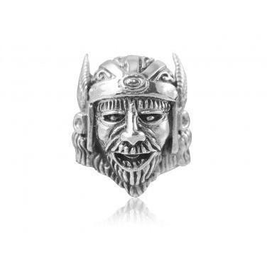 925 Sterling Silver Viking Head Warrior Wings Helmet Biker Heavy Ring
