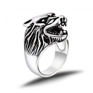 925 Sterling Silver Viking Wolf Head Fenrir Norse Icelandic Thor Biker Heavy Thick Ring