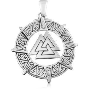 925 Sterling Silver Viking Valknut Pendant