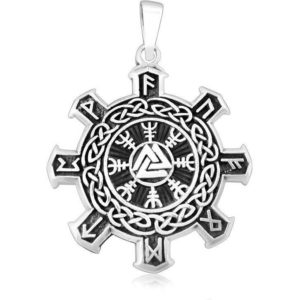 925 Sterling Silver Valknut Vegvisir Warrior Helm of Awe Viking Runes Futhark Celtic Knots Pendant