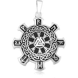 925 Sterling Silver Valknut Vegvisir Warrior Helm of Awe Viking Runes Futhark Celtic Knots Pendant