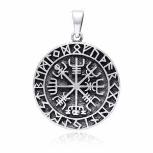 925 Sterling Silver Vegvisir Viking Compass Runes Pendant