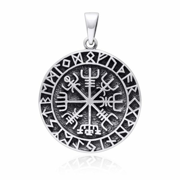 925 Sterling Silver Vegvisir Viking Compass Runes Pendant