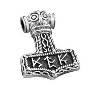 925 Sterling Silver Viking Thor Hammer Mjolnir Futhark Amulet Pendant