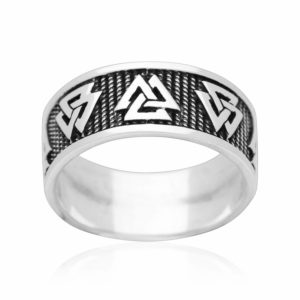 925 Sterling Silver Viking Valknut Norse Jewelry Band Ring