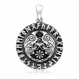 925 Sterling Silver Viking Huginn and Muninn Raven Helm of Awe Runes Pendant