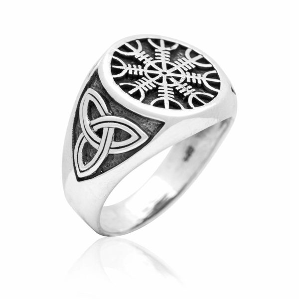 925 Sterling Silver Viking Helm Of Awe Aegishjalmur Celtic Triquetra Knot Ring