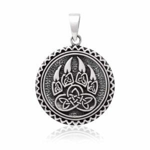 925 Sterling Silver Viking Print Bear Paw Claw Slavic Warding Veles Pendant