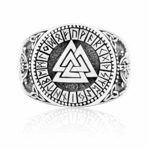 925 Sterling Silver Viking Valknut Runes Jormungand Handcrafted Ring
