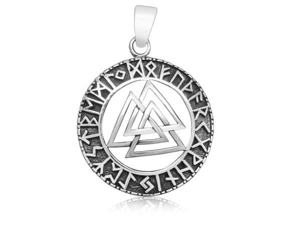 925 Sterling Silver Valknut Odin Norse Viking Runes Runic Futhark Pendant
