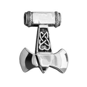 925 Sterling Silver Thor Hammer Mjolnir Viking Axe Knotwork Amulet Pendant