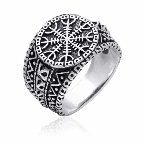 925 Sterling Silver Helm of Awe Viking Oxidized Ring