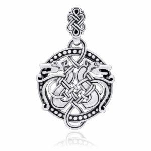 925 Sterling Silver Viking Hound Wolf Fenrir Norse Knotwork Amulet Pendant