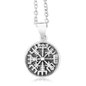 925 Sterling Silver Vegvisir Icelandic Viking Asatru Magical Staves Compass Charm Pendant