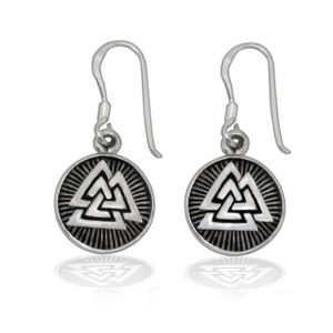 925 Sterling Silver Valknut Odin Viking Norse Runes Runic Dangle Earrings Set