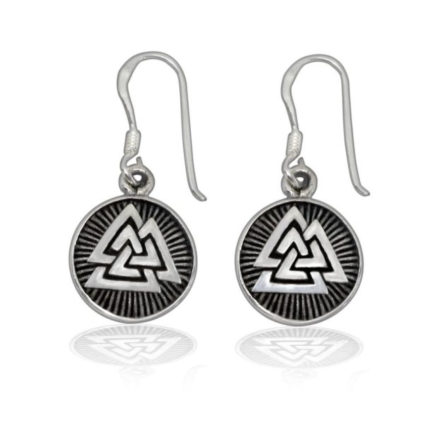 925 Sterling Silver Valknut Odin Viking Norse Runes Runic Dangle Earrings Set