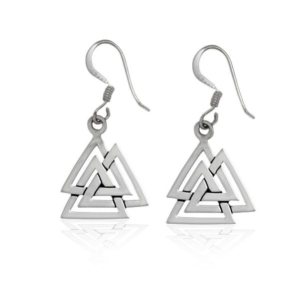 925 Sterling Silver Valknut Viking Knot Norse Runes Odin Dangle Earrings Set