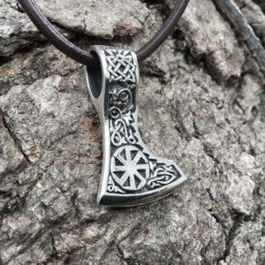 925 Sterling Silver Viking Slavic Kolovrat Sun Wheel Double Sided Pendant