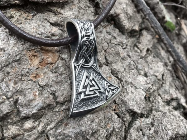 925 Sterling Silver Viking Valknut Triquetra Axe Amulet